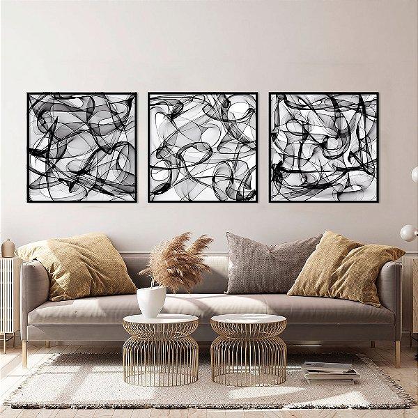 Conjunto com 03 quadros decorativos Formas Abstratas em P&B