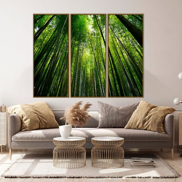 Conjunto com 03 quadros decorativos Floresta de Bambu