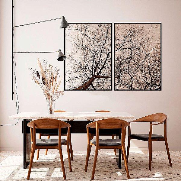 Conjunto com 02 quadros decorativos Galhos Árvore