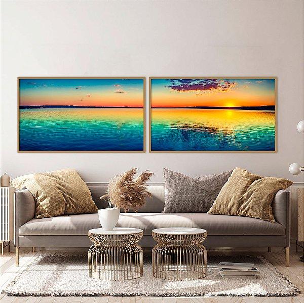 Conjunto com 02 quadros decorativos Paisagem