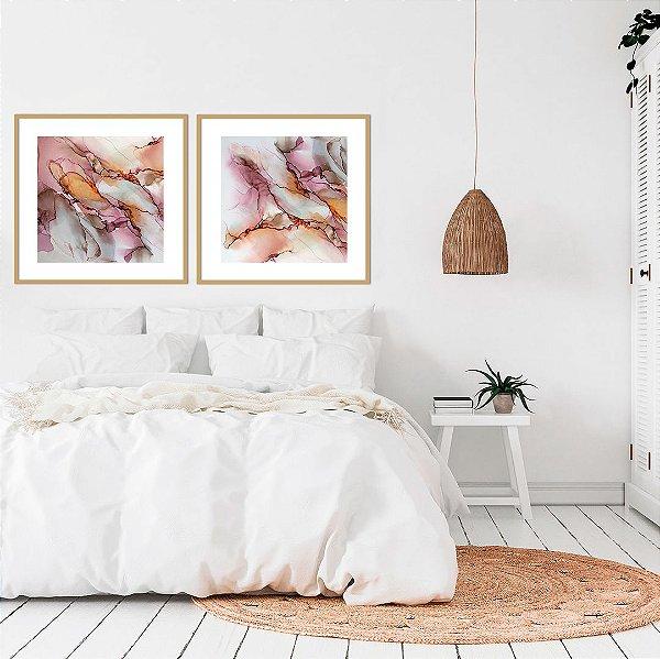 Conjunto com 02 quadros decorativos Cores Abstratas