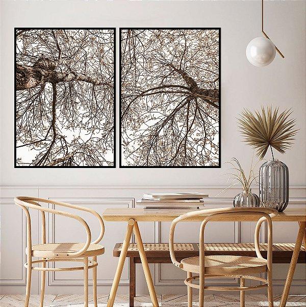 Conjunto com 02 quadros decorativos Árvores Sépia