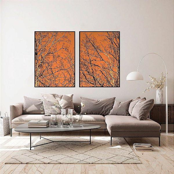 Conjunto com 02 quadros decorativos Galhos