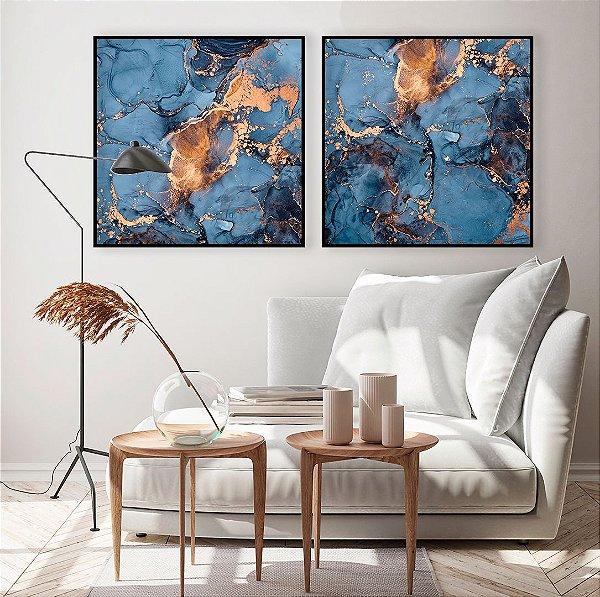 Conjunto com 02 quadros decorativos Abstrato Azul e Cobre