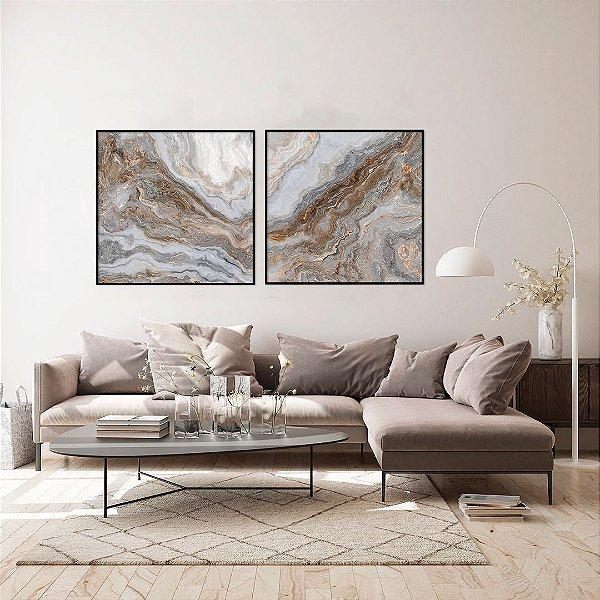 Conjunto com 02 quadros decorativos Abstrato Bege e Cinza