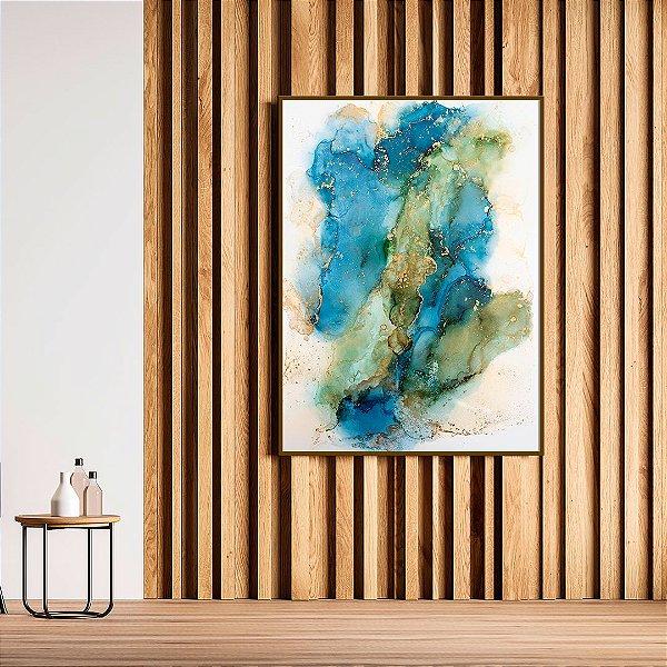 Quadro decorativo Abstrato Verde, Azul e Dourado