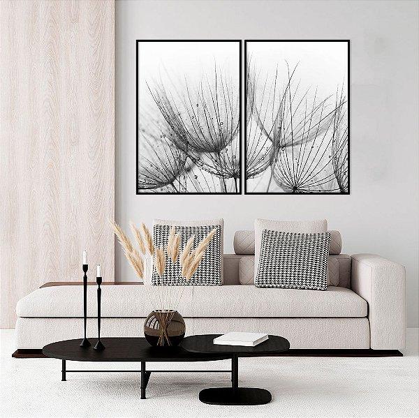 Conjunto com 02 quadros decorativos Dente-de-leão Preto e Branco