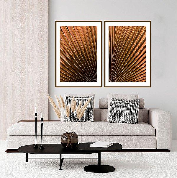 Conjunto com 02 quadros decorativos Folhas Abstratas