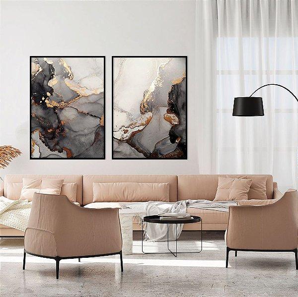 Conjunto com 02 quadros decorativos Abstrato Preto e Dourado