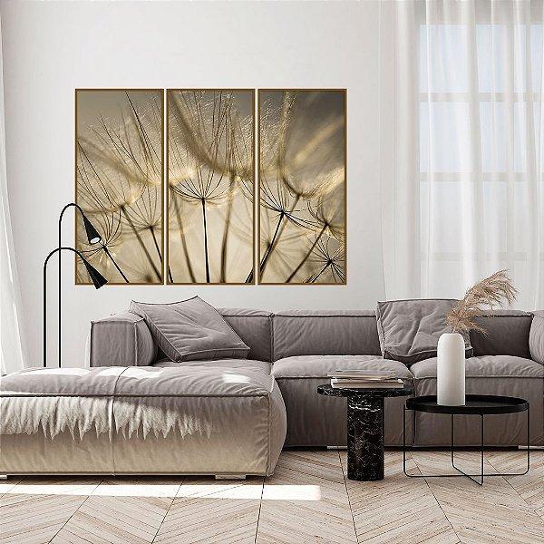 Conjunto com 03 quadros decorativos Dente-de-leão Dourado