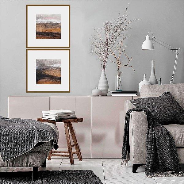 Conjunto com 02 quadros decorativos Pintura 40x40cm (LxA) Moldura cor Amadeirada