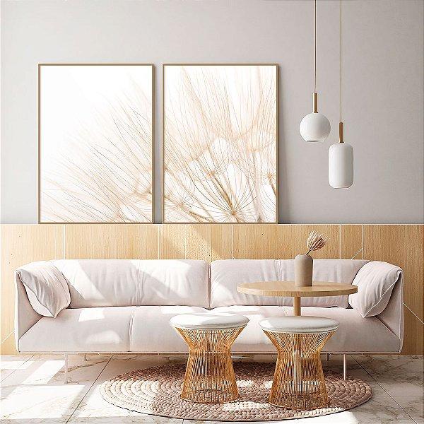 Conjunto com 02 quadros decorativos Dente-de-leão 40x60cm (LxA) Moldura Amadeirada Clara
