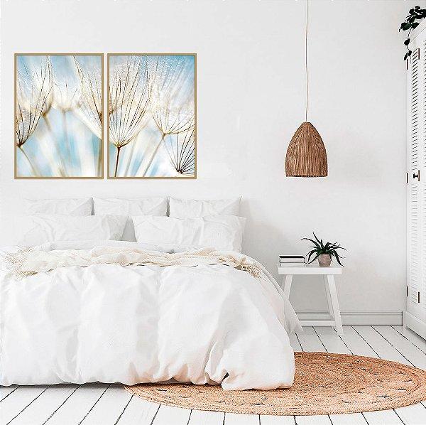 Conjunto com 02 quadros decorativos Dente-de-leão Azul 50x70cm (LxA) Moldura Amadeirada Clara