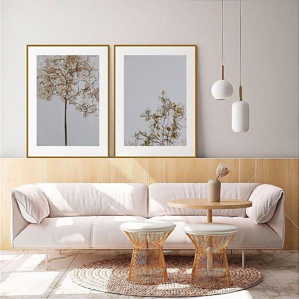 Conjunto com 02 quadros decorativos Flores Secas 50x70cm (LxA) Moldura Amadeirada