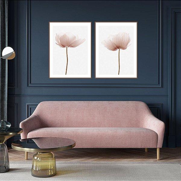 Conjunto com 02 quadros decorativos Flores 50x70cm (LxA) Moldura Amadeirada