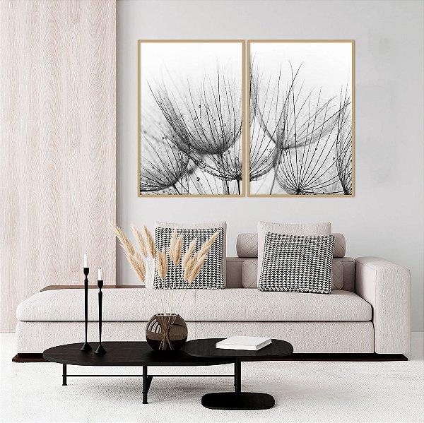 Conjunto com 02 quadros decorativos Dente-de-leão em Preto e Branco 50x70cm (LxA) Moldura cor Cobre