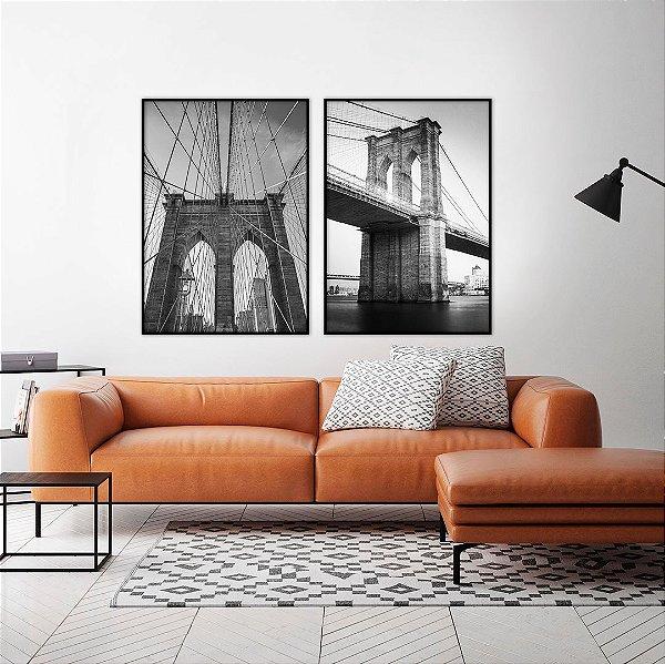 Conjunto com 02 quadros decorativos Ponte Brooklyn 50x70cm (LxA) Moldura cor Preto