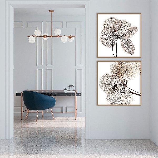 Conjunto com 02 quadros decorativos Flores Secas 60x60cm (LxA) Moldura Amadeirada Amêndoa
