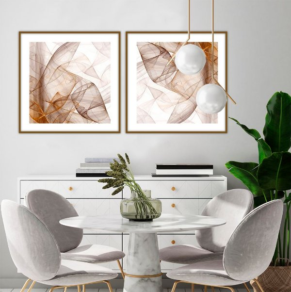 Conjunto com 02 quadros decorativos Abstrato Metal 60x60cm (LxA) Moldura Amadeirada