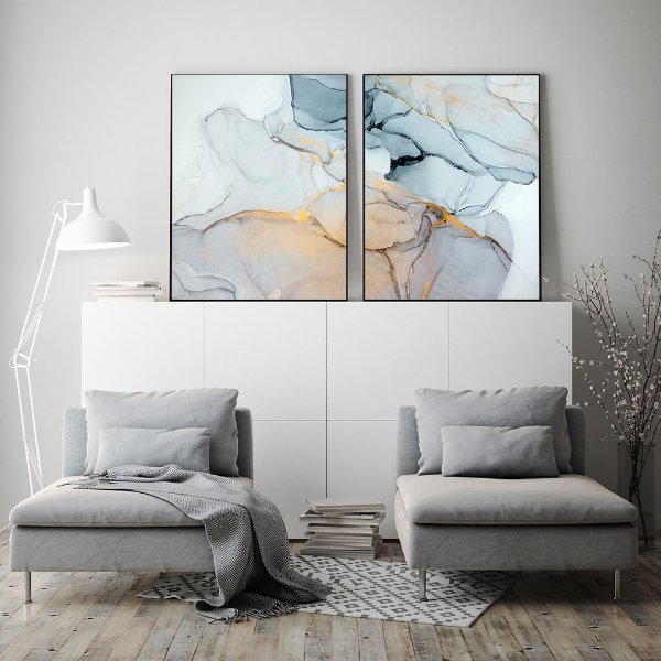 Conjunto com 02 quadros decorativos Abstrato Azul 60x80cm (LxA) Moldura cor Cobre
