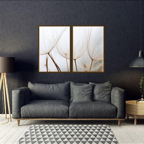 Conjunto com 02 quadros decorativos Dente-de-leão II 60x80cm (LxA) Moldura cor Cobre