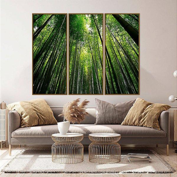 Conjunto com 02 quadros decorativos Bambu 60x120cm (LxA) Moldura cor Amadeirada Amêndoa