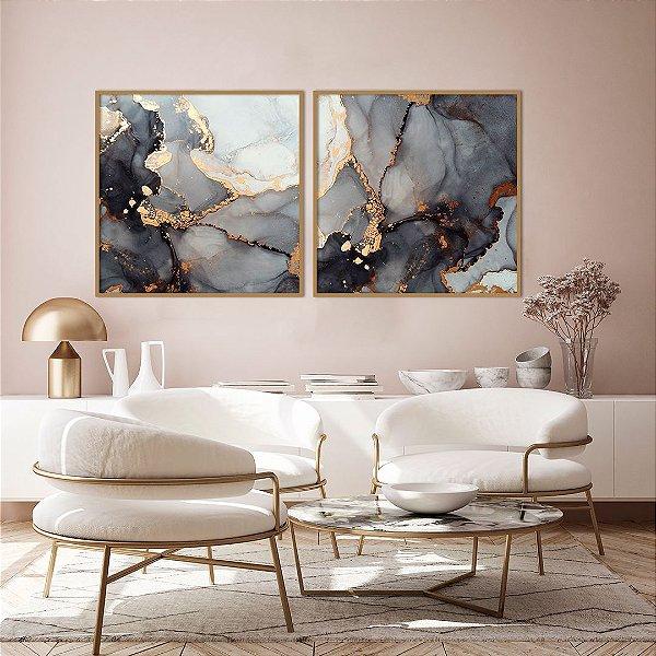 Conjunto com 02 quadros decorativos Abstrato Preto, Dourado e Cobre 70x70cm (LxA) Moldura cor Cobre