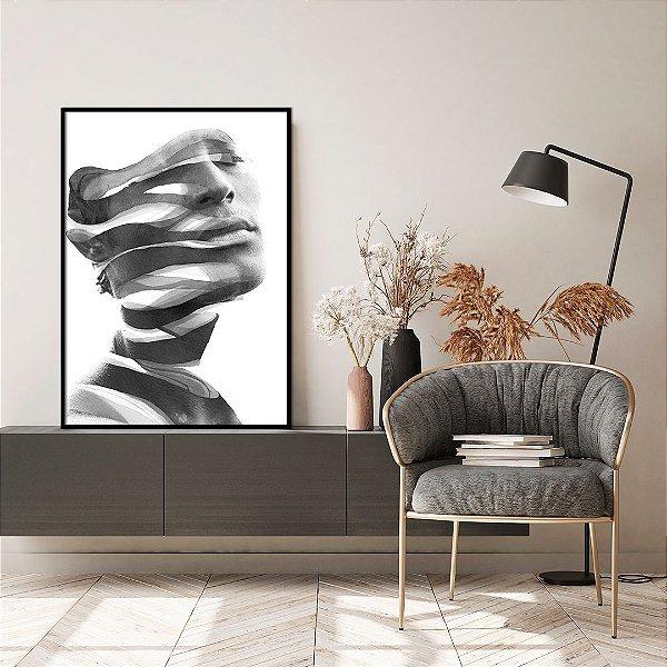 Quadro Decorativo Face Abstrata 70x90cm (LxA) Moldura Chanfrada na cor Preto