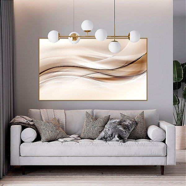 ENVIO IMEDIATO - Quadro Decorativo Abstrato Bege 120x80cm (LxA) Moldura na cor Cobre
