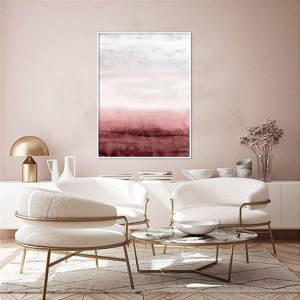 Quadro Decorativo CANVAS Abstrato Marsala, Rosa e Cinza 70x90cm (LxA) Moldura Canaleta na cor Branco