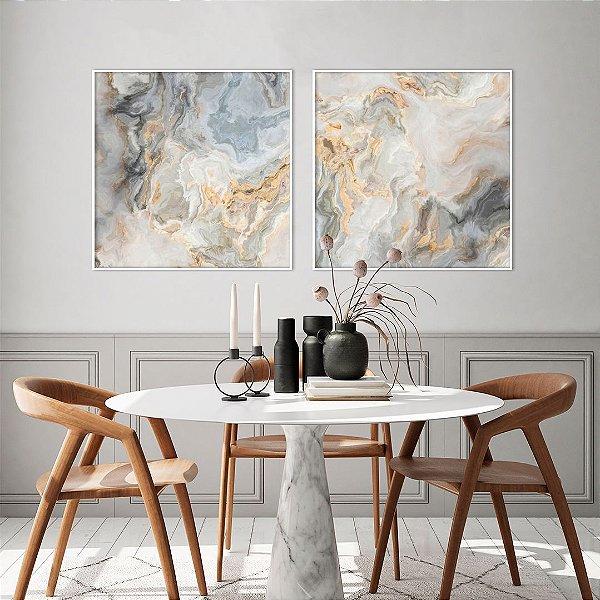Conjunto com 02 Quadros Decorativos CANVAS Abstrato Azul e Bege 80x80cm (LxA) Moldura Canaleta na cor Branco
