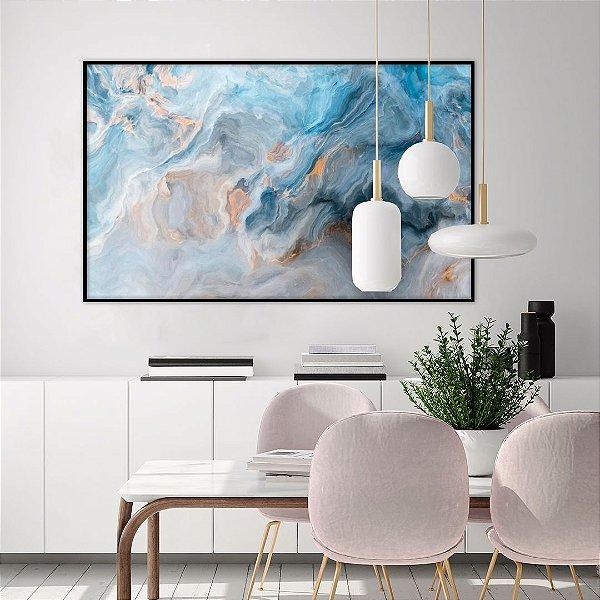 Quadro Decorativo CANVAS Abstrato Azul 100x150cm (LxA) Moldura Canaleta na cor Preto