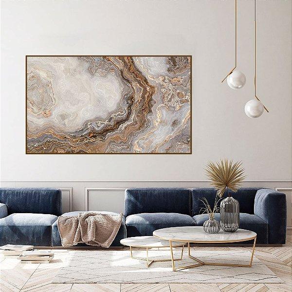 ENVIO IMEDIATO - Quadro Decorativo CANVAS Abstrato Bege 150x90cm (LxA) Moldura Filete na cor Amadeirado