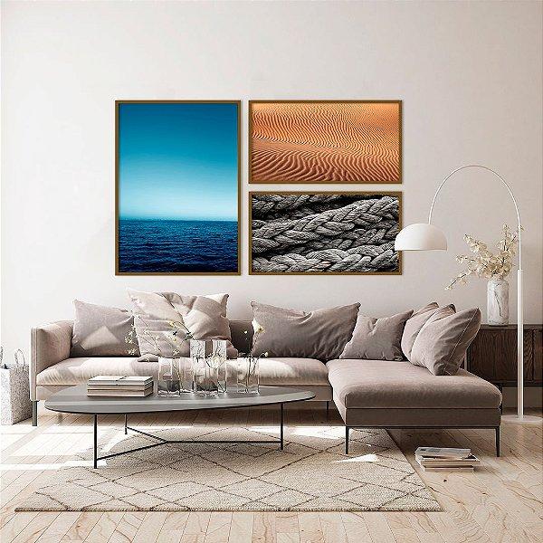 Conjunto com 03 quadros decorativos Litoral Moldura Amadeirada