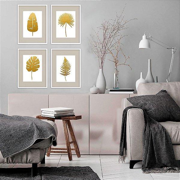 Conjunto com 04 quadros decorativos Folhas Tropicais 20x30cm (LxA) Moldura cor Branco