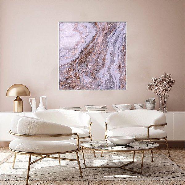 ENVIO IMEDIATO - Quadro decorativo CANVAS Abstrato Lilás 110x110cm (LxA) Moldura Filete cor Branco
