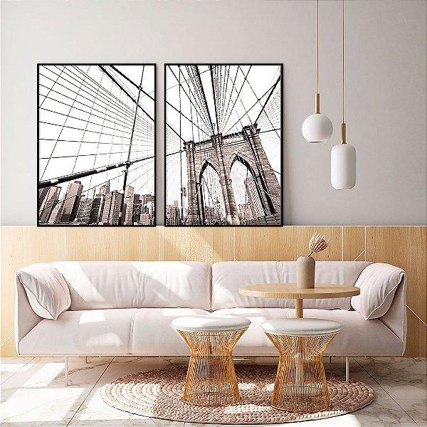Conjunto com 02 quadros decorativos New York 40x60cm (LxA) Moldura cor Preto