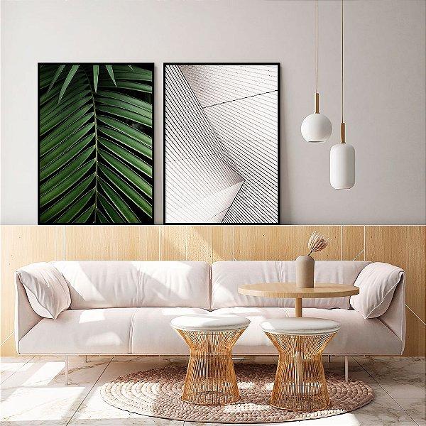 Conjunto com 02 quadros decorativos Botanic Geometric 40x60cm (LxA) Moldura cor Preto