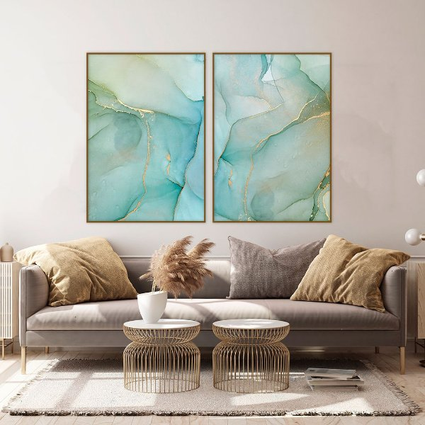Conjunto com 02 quadros decorativos Abstrato Azul e Verde