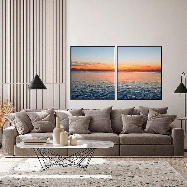 Conjunto com 02 quadros decorativos Pôr do Sol no Mar