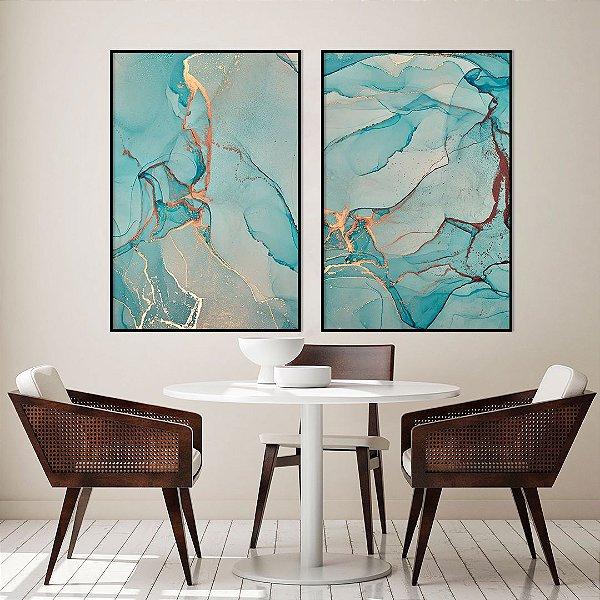 Conjunto com 02 quadros decorativos Abstrato Azul com detalhes Dourado e Cobre