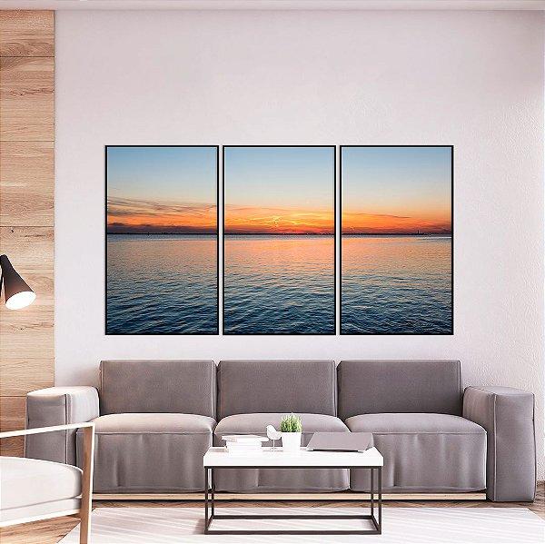 Conjunto com 03 quadros decorativos Pôr do Sol no Mar