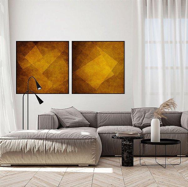 Conjunto com 02 quadros decorativos Ocre Abstrato
