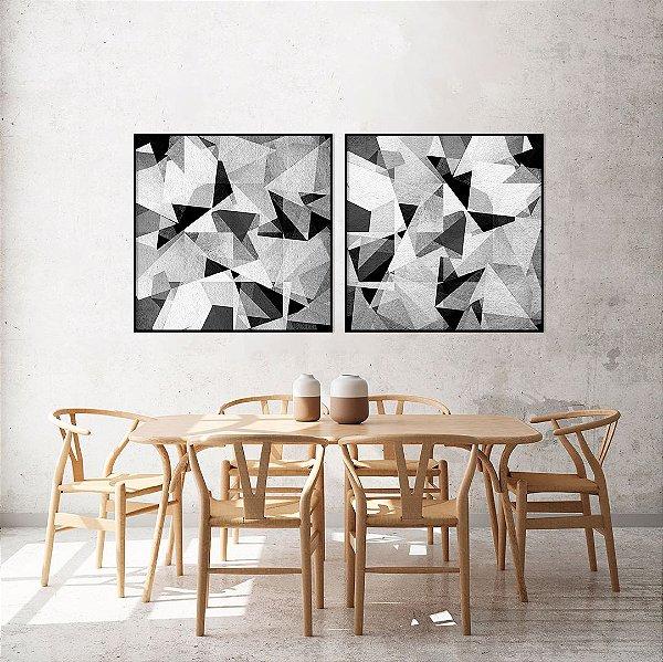 Conjunto com 02 quadros decorativos Geométrico