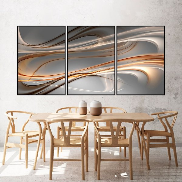 Conjunto com 03 quadros decorativos Formas Abstratas