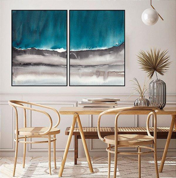 Conjunto com 02 quadros decorativos Abstrato Azul e Cinza