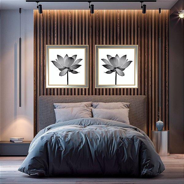 Conjunto com 02 quadros decorativos Flor moldura sobreposta em espelho
