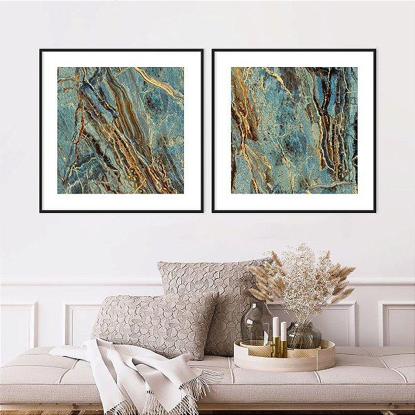 Conjunto com 02 quadros decorativos Pedras Abstratas