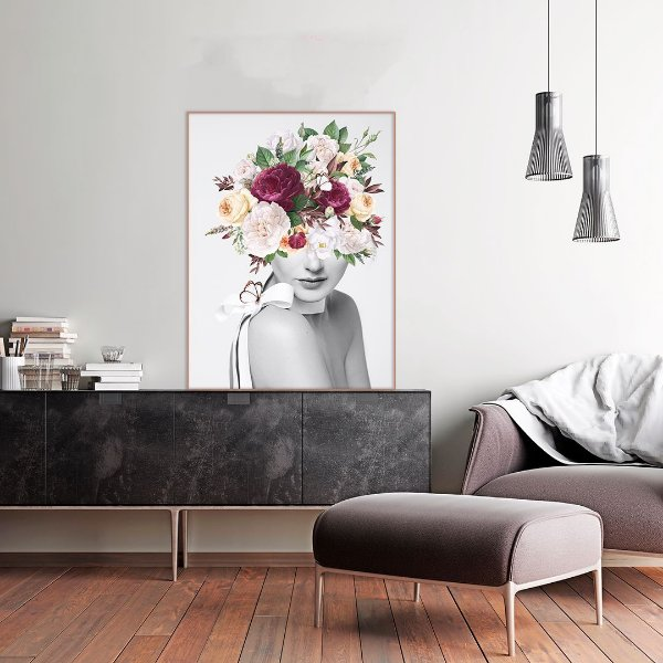 Quadro Decorativo Mulher Floral Rosa