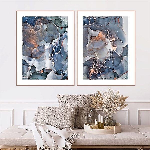 Conjunto com 02 quadros decorativos Abstrato Azul, Verde e Cobre